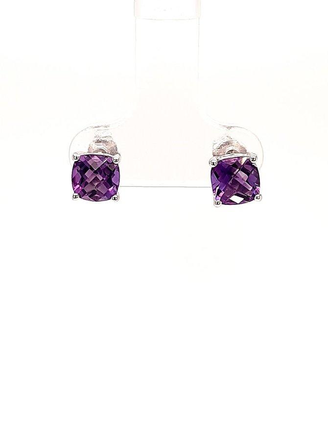 Amethyst (1.55 ctw) stud earrings, 14k white gold