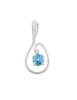 Blue topaz (0.80 ct) & diamond (0.03 ctw) swirl pendant, 14k white gold