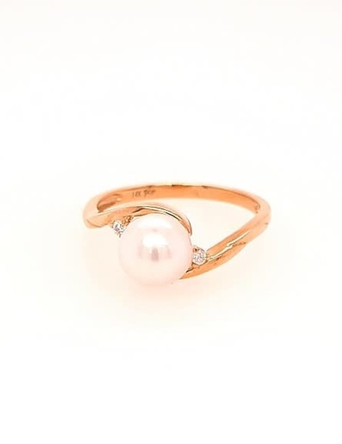 White cultured pearl 6.5-7mm & diamond (0.03ctw) ring, 14k yellow gold