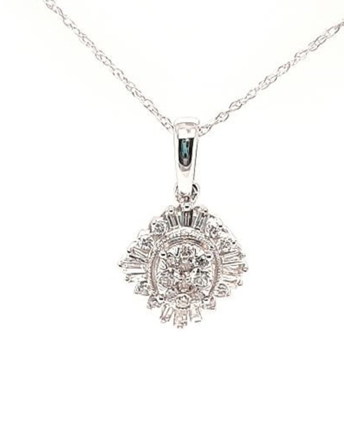 Baguette & round diamond (0.38 ctw) pendant, 14k white gold, chain included