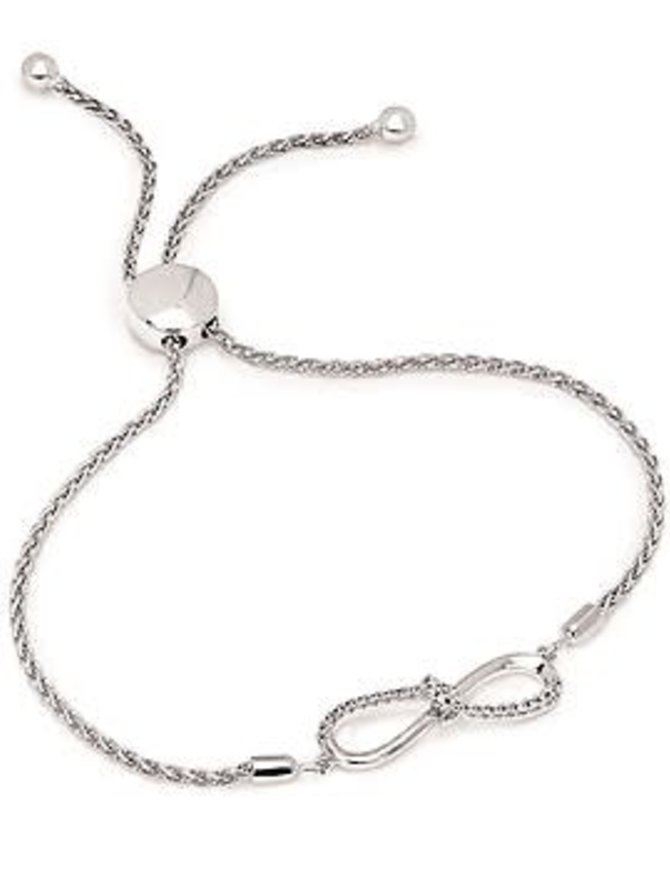 Diamond (0.10 ) infinity bolo bracelet, sterling silver