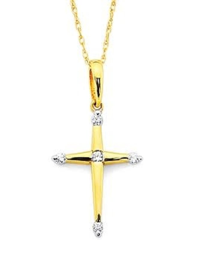 Diamond (0.06 ctw) cross pendant wit chain, 14kt