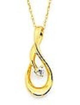 Diamond (0.03 ctw) swirl pendant, 14k yellow gold, chain included