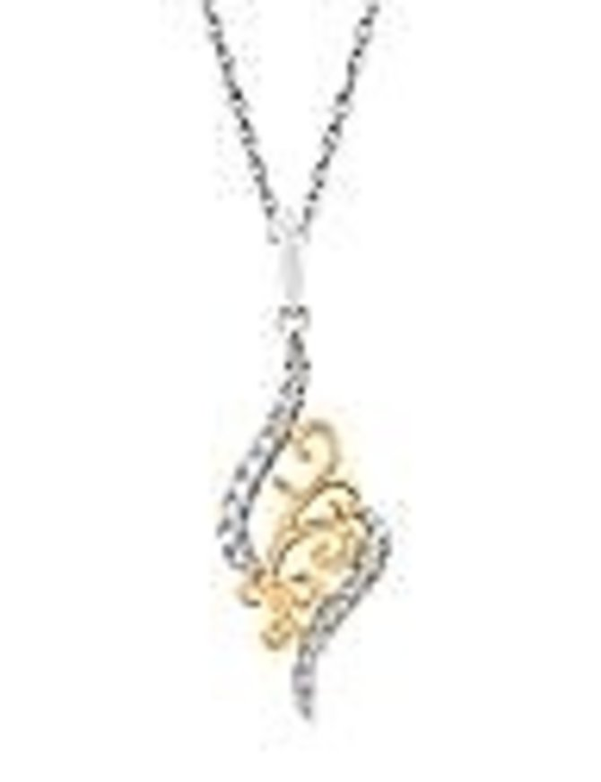 Diamond (0.10 ctw) scroll pendant, 14k white & yellow gold, chain included