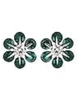 Emerald (0.56 ctw) & diamond (0.18 ctw) earrings, 14k white gold