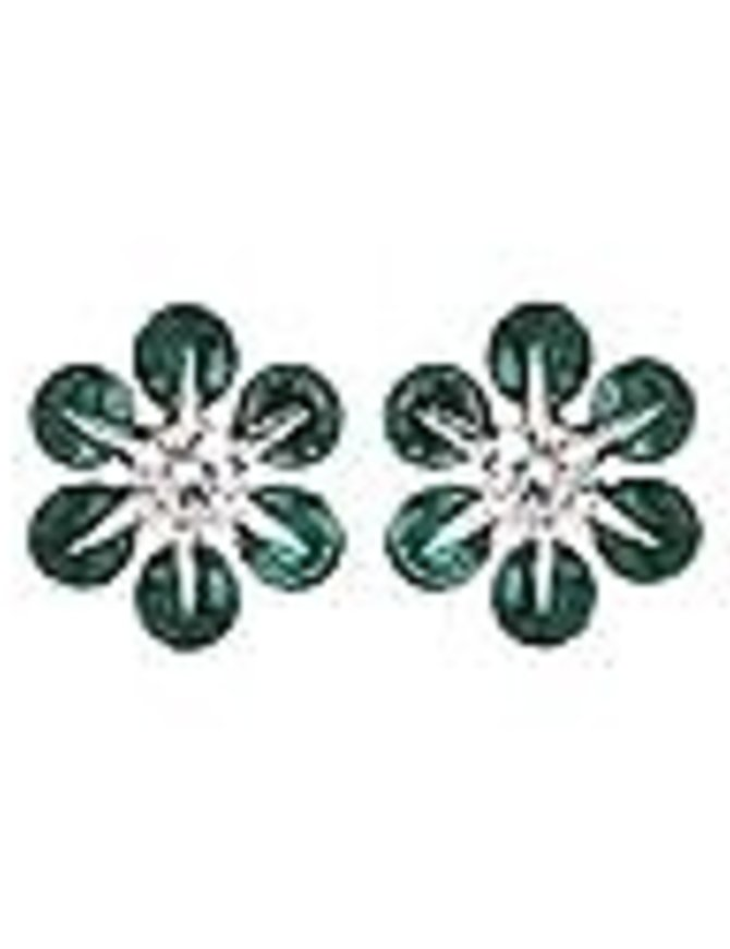 Emerald (0.56 ctw) & diamond (0.18 ctw) earrings, 14k white gold