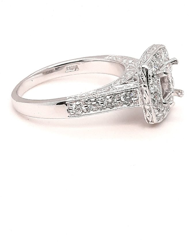 Diamond (0.70 ctw) hand engraved halo setting, 14k white gold, center stone not included