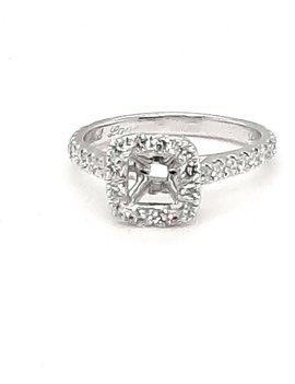 Diamond (0.50 ctw) halo setting, 14k white gold, center stone not included