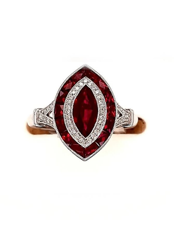 Ruby (1.66 ctw) & diamond (0.14 ctw) ring, 18k white gold