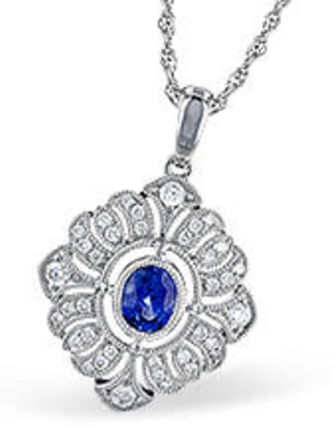 Sapphire (0.47 ctw) & diamond (0.25 ctw) pendant, 14k white gold, chain included