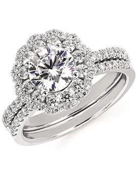 Diamond (0.63 ctw) double halo setting, 14k white gold