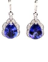 Tanzanite (10.15 ctw) & diamond (0.32 ctw) earrings, 18k white gold, 5.09g