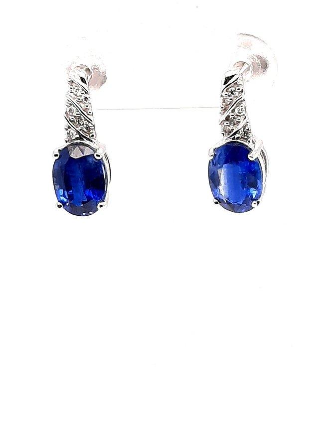 Kyanite (2.95 ctw) & diamond (0.08 ctw) earrings, 14k white gold, 1.79g