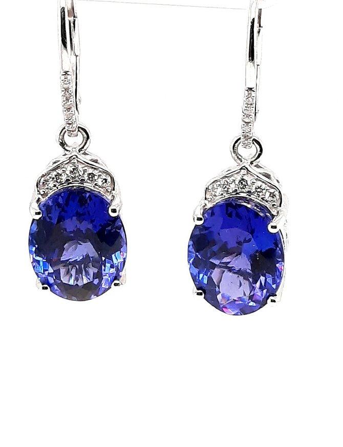 Tanzanite (10.0 ctw) & diamond (0.16 ctw) earrings, 18k white gold, 4.22g