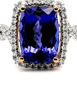Diamond (0.52 ctw) & tanzanite (6.04 tw) 14 kt white and yellow gold