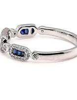 Diamond (0.167 ctw) & sapphire (0.126 tw)  ring 14 kt white gold