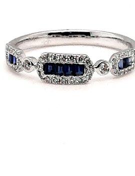 Diamond (0.17 ctw) & sapphire (0.13 ctw)  ring , 14 kt white gold