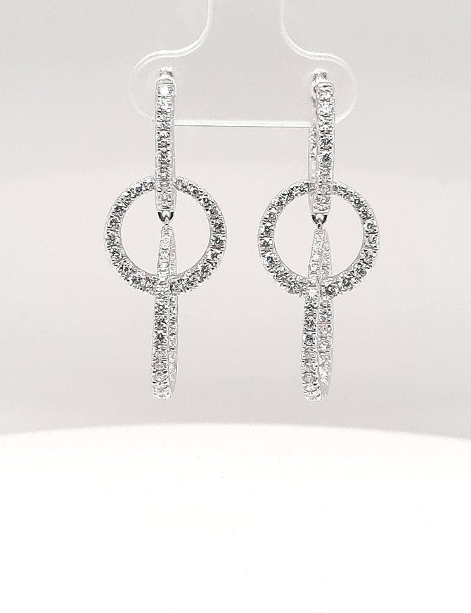 Diamond (1.88 ctw) dangle earrings, 14 kt white gold