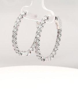Diamond (2.98 ctw) hoop earrings, 14 kt white gold