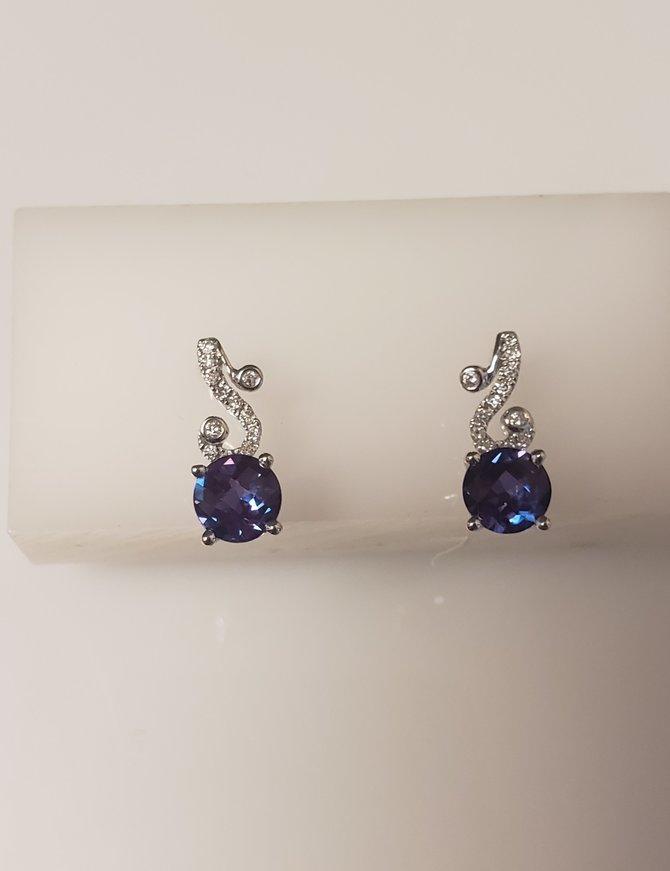 Lab alexandrite (1.80 ctw) & diamond (0.13 ctw) earrings, 14k white gold