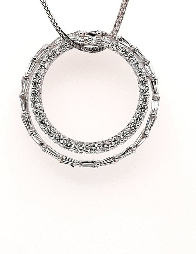 Diamond (2.54 ctw) double circle pendant, 14 k white gold, chain not included