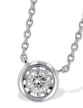 Diamond solitaire pendant, bezel set, chain included 14k white gold 0.15 ctw