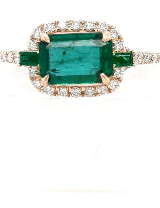 Emerald (1.14 ct) & diamond (0.29 ctw) ring, 14kt yellow gold