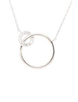 Diamond (0.06ctw) double circle necklace, 14k white gold