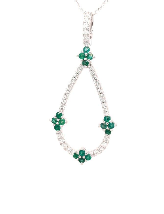 Emerald (0.27ctw) & diamond (0.17ctw) pendant 14k white gold