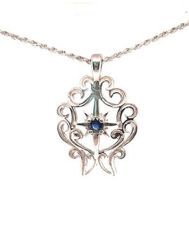 TQ Original Sapphire (0.33ct) pendant, sterling silver, chain not included