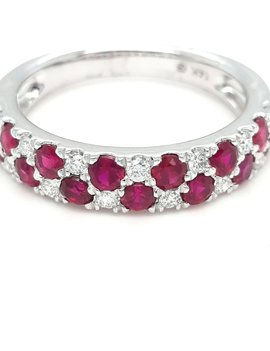 Ruby (1.17ctw) & diamond (0.20ctw) band, 14k white gold