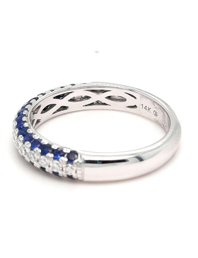 Sapphire (0.75ctw) & diamond (0.25ctw) 3-row band, 14k white gold