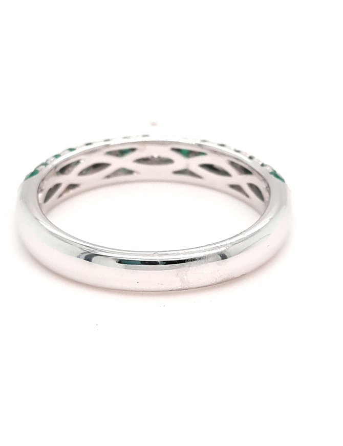 Emerald (0.61ctw) and diamond (0.25ctw) 3-row band, 14k white gold