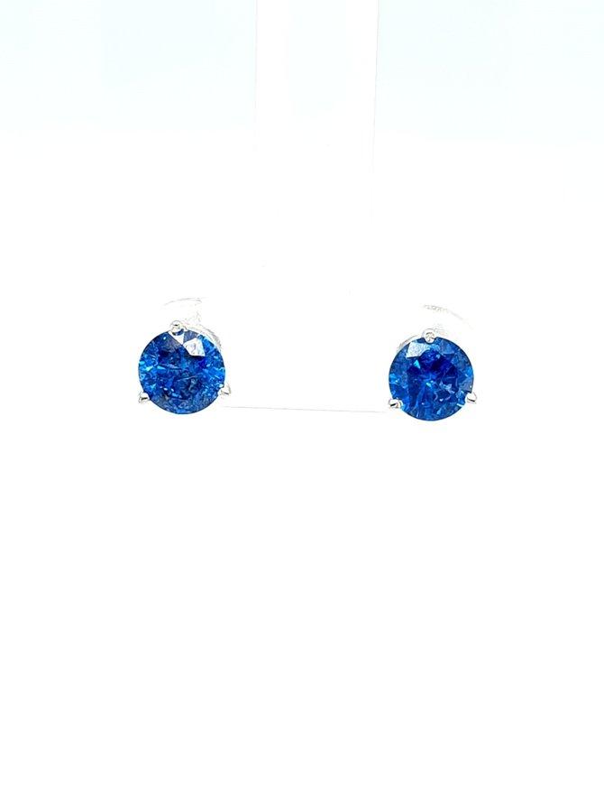 Blue diamond (1.51 ctw) 3-prong stud earrings, 14k white gold
