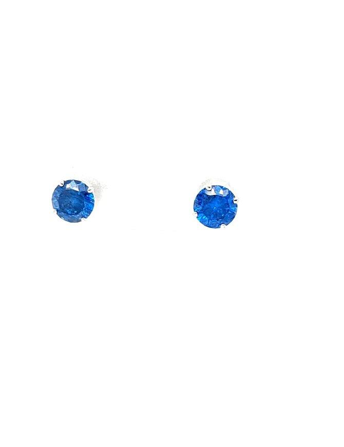 Blue diamond (1.06 ctw) 4-prong stud earrings, 14k white gold