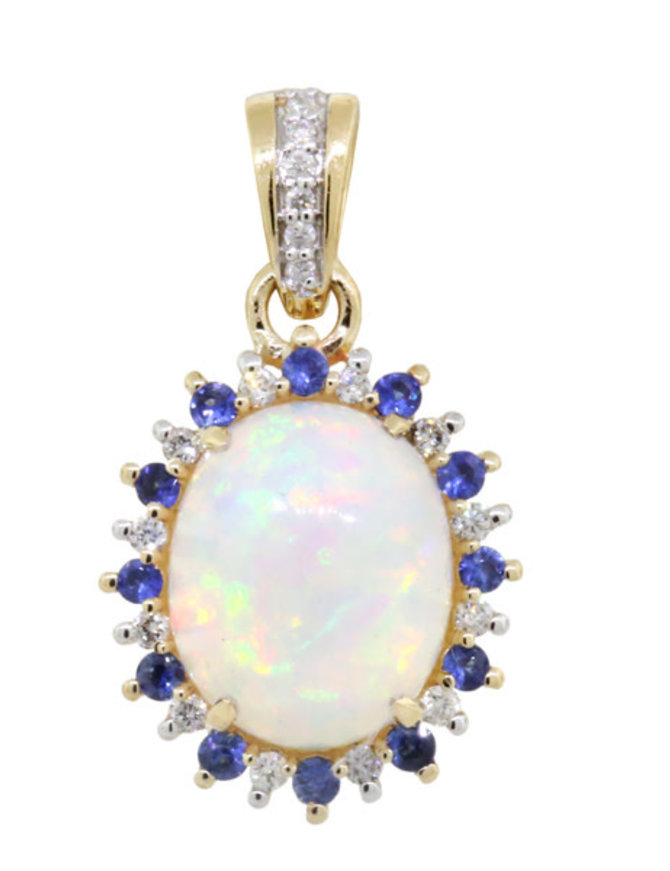 Ethiopian Opal, Blue Sapphire & White Diamond Pendant, 14k yellow gold