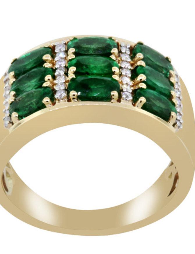 Emerald & White Diamond Ring 14k yellow gold