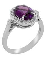 Purple Garnet & White Diamond Ring 18k white gold