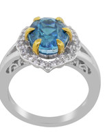 Blue Zircon & White Zircon Ring, sterling silver
