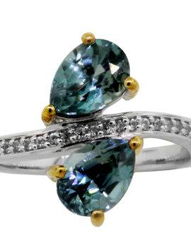 Blue Zircon & White Zircon Ring sterling silver