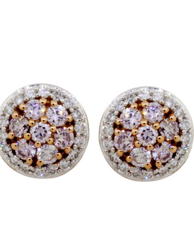Pink Diamond & White Diamond Earring 18k rose gold