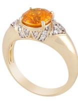 Sphalerite & White Diamond Ring 14k yellow gold
