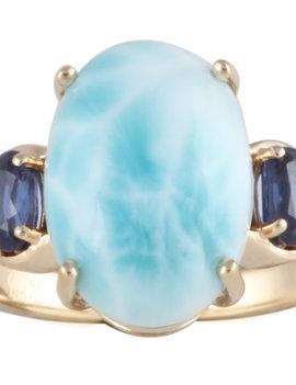 Larimar, Blue Kyanite & White Diamond Ring 14k yellow gold