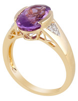 Amethyst & White Diamond Ring 14k yellow gold