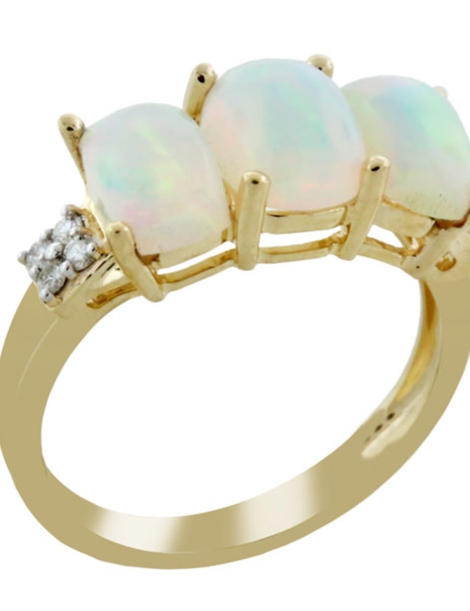 Ethiopian Opal & White Diamond Ring 14k yellow gold