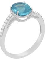 Apatite & White Diamond Ring 14k white gold