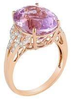 Kunzite (3.36 ct) & White Diamond (0.22 ctw) Ring 14k rose gold