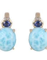 Larimar , Blue Kyanite & White Diamond Earring