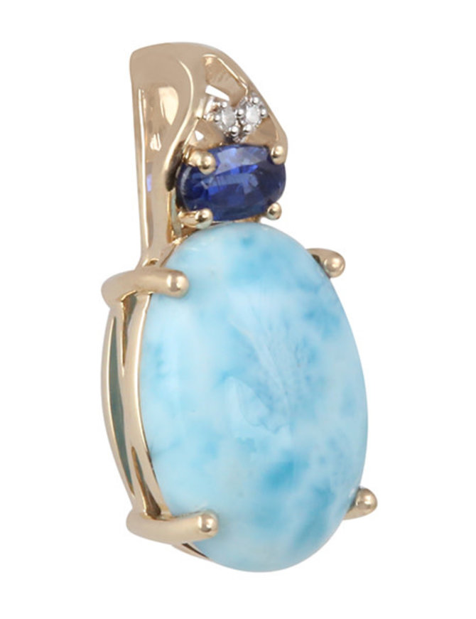 Larimar, Blue Kyanite & White Diamond Pendant 14k yellow gold