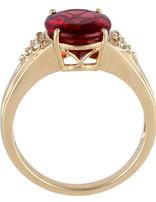 Rubellite (3.91 ct) & Diamond (0.08ctw) Ring 14k yellow gold